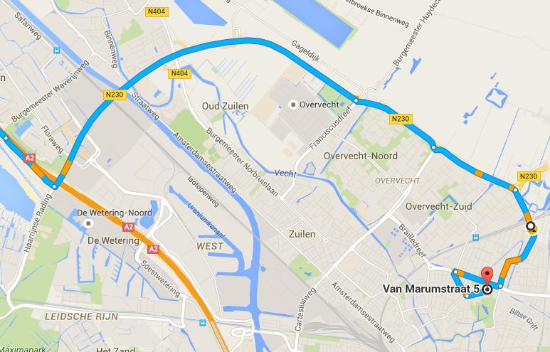 Route gegevens vanuit amsterdam 2